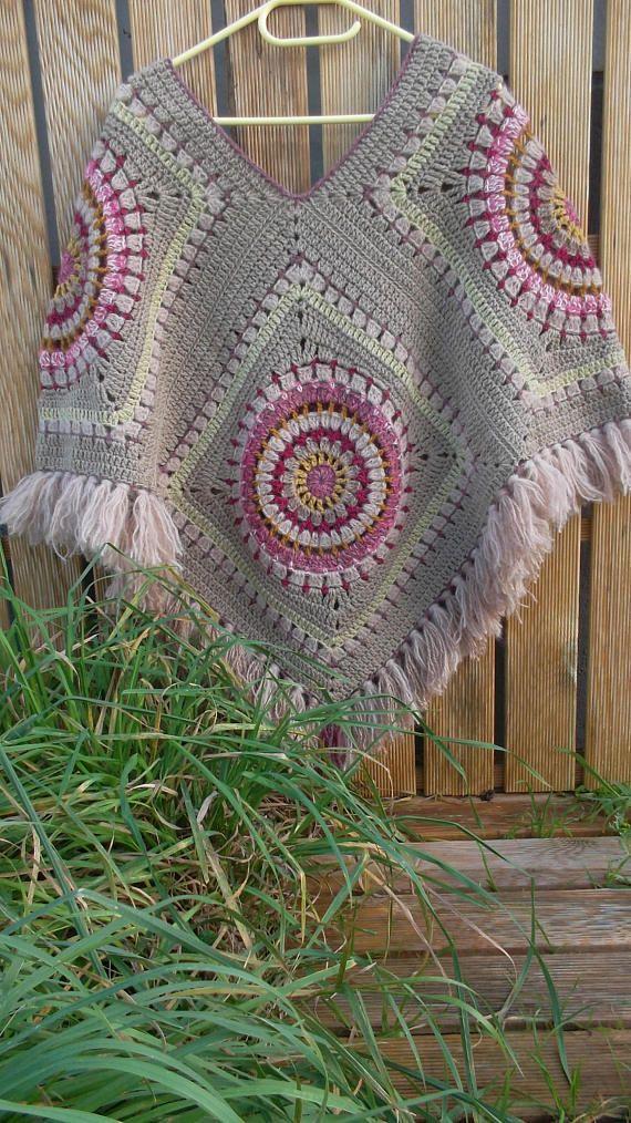 Poncho Femme Au Crochet Mandala Beige Oblečení Pinterest