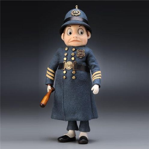 """Endeavour Toys - R. John Wright Dolls - Palmer Cox Brownie Policeman.  This whimsical character made his appearance in Cox's first Brownie book published in 1887 titled """"The Brownies, Their Book."""""""