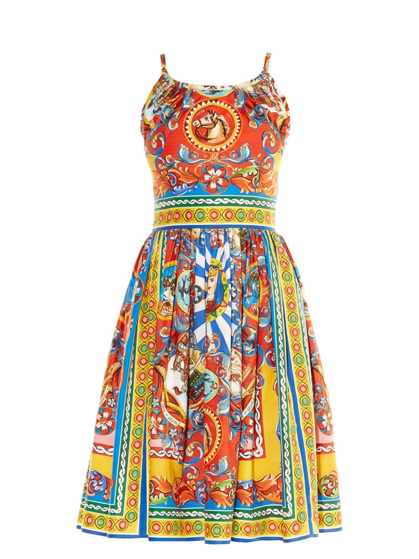 Carrettoprint sleeveless dress dolce u gabbana matchesfashion