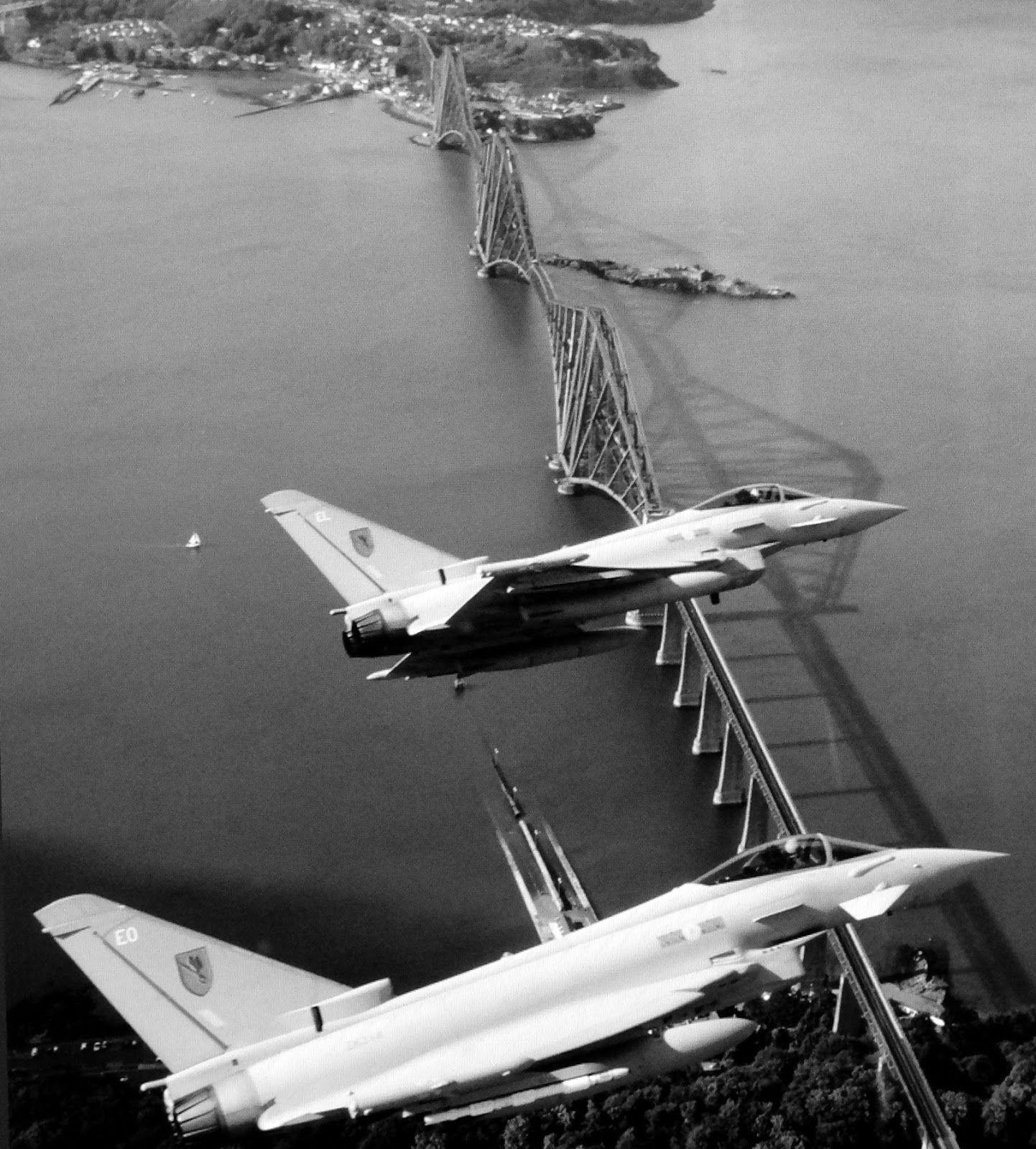 Tour Scotland Photographs: Old Photograph Royal Air Force Jets Forth Railway Bridge Scotland