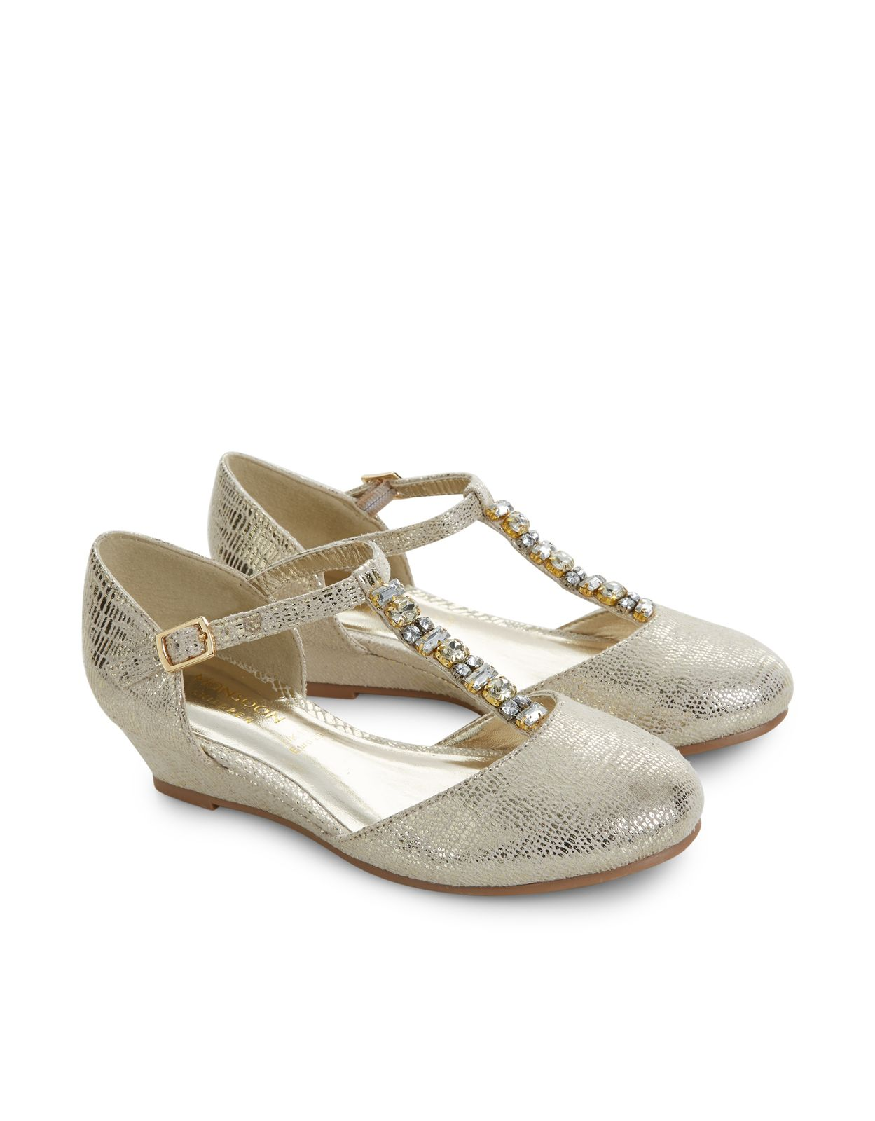 8405ae69e0f1 Get party perfect with our shimmering two-part wedge shoes for girls ...