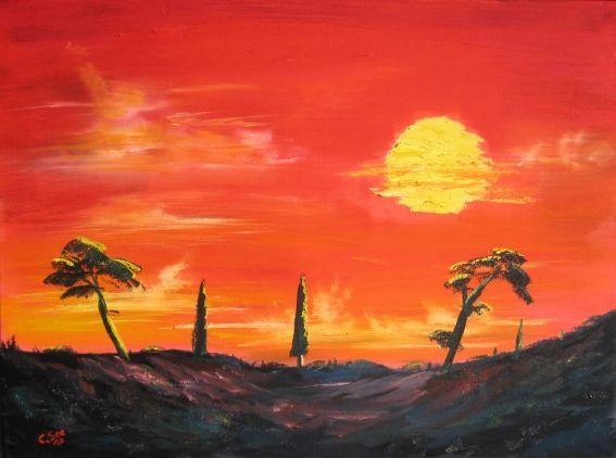 pintura al óleo Toscana Puesta de sol   Christian Seebauer