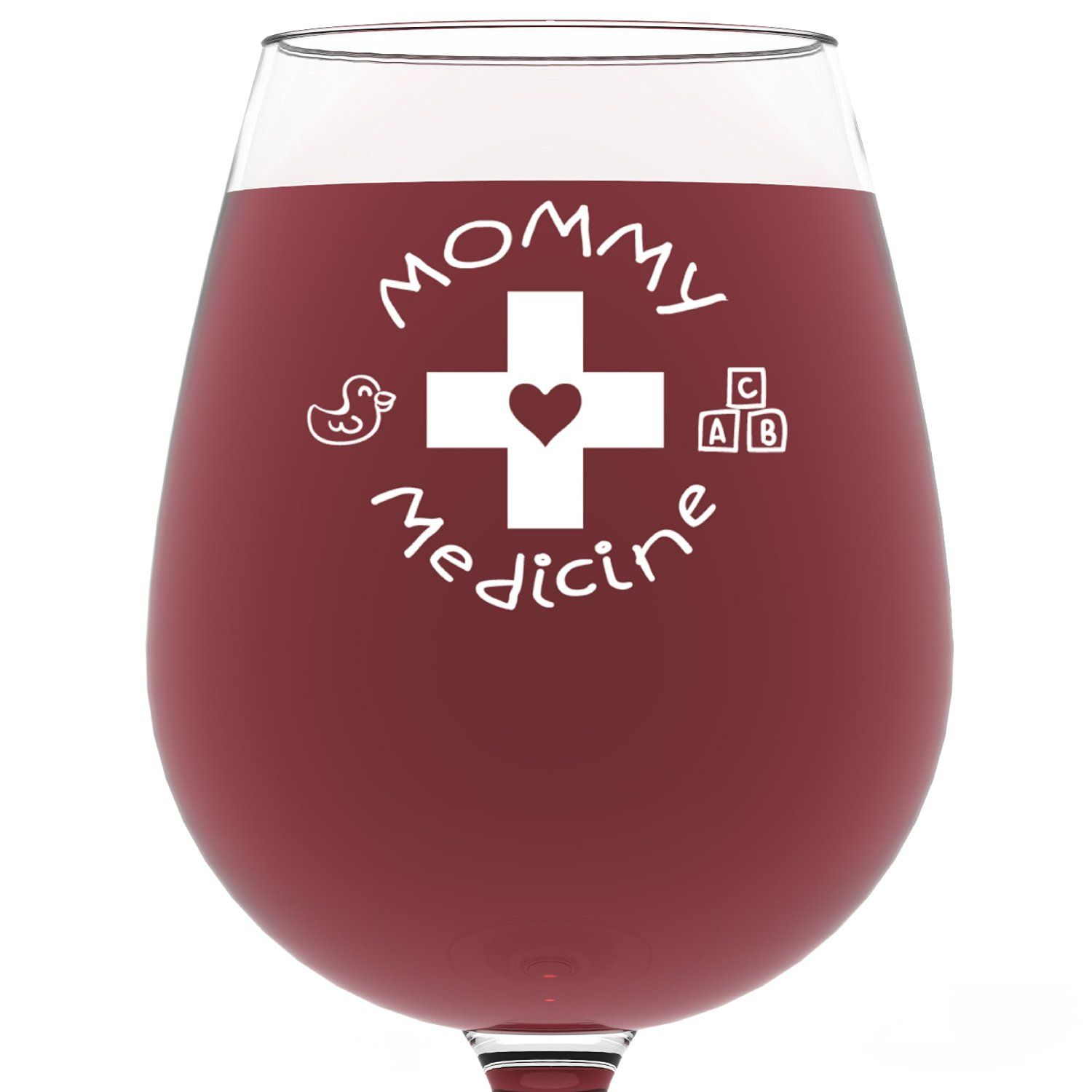 Awesome Funny Presents For Her Part - 9: Mommy Medicine Funny Wine Glass 13 Oz - Best Motheru0027s Day Gifts For Mom -  Unique Birthday Gift For Her From Son Or Daughter - Cool Humorous Present  Idea For ...
