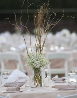 Branches And Baby S Breath In A Clear Vase Wedding Table Flowers Tall Wedding Centerpieces Curly Willow Centerpieces