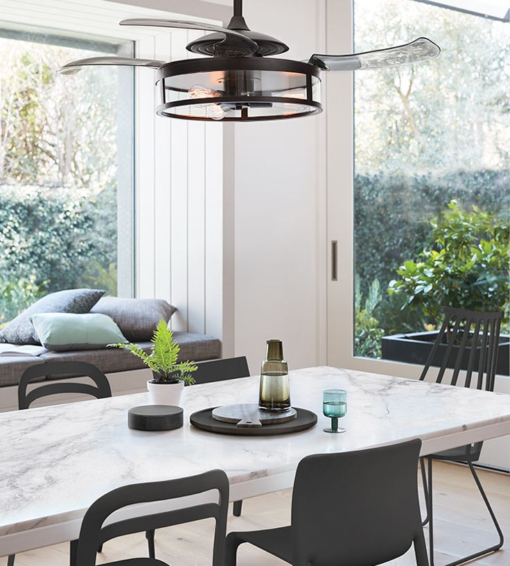 The beacon lighting fanaway classic retractable acrylic 4 blade ceiling fan and light in black with