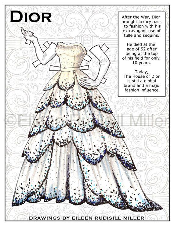 Poupée de papier en Dior par PaperDollsbyERMiller sur Etsy