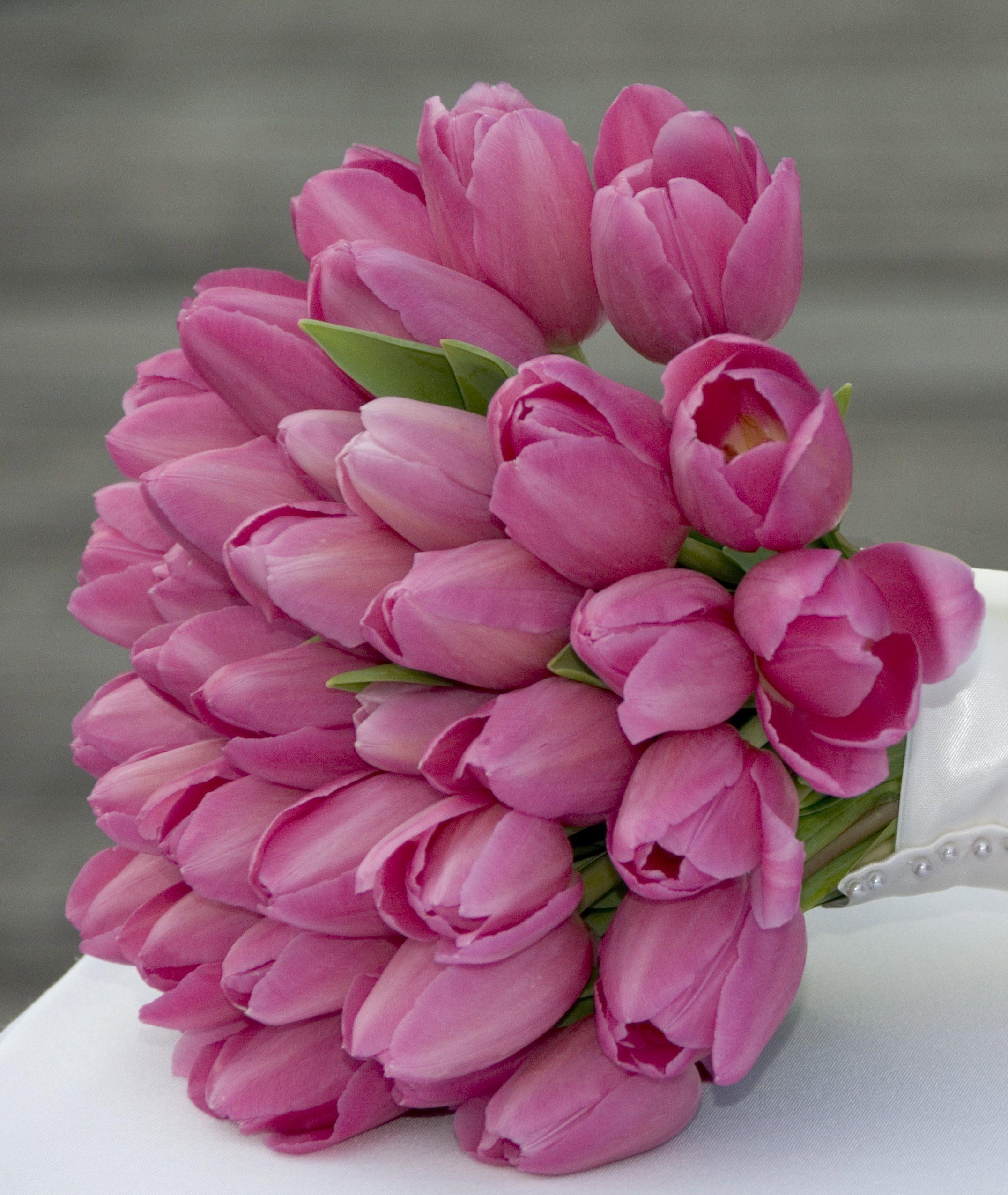 Wholesale Wedding Flower Packages: Pink Tulip Bridal Bouquet - Bridal Bouquets