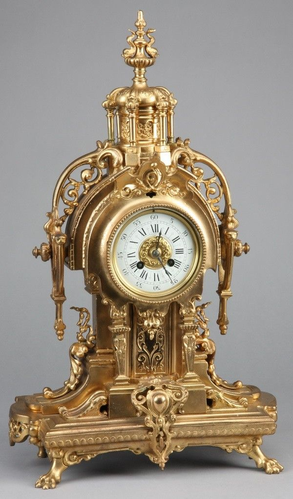 19th c. French dore' bronze clock