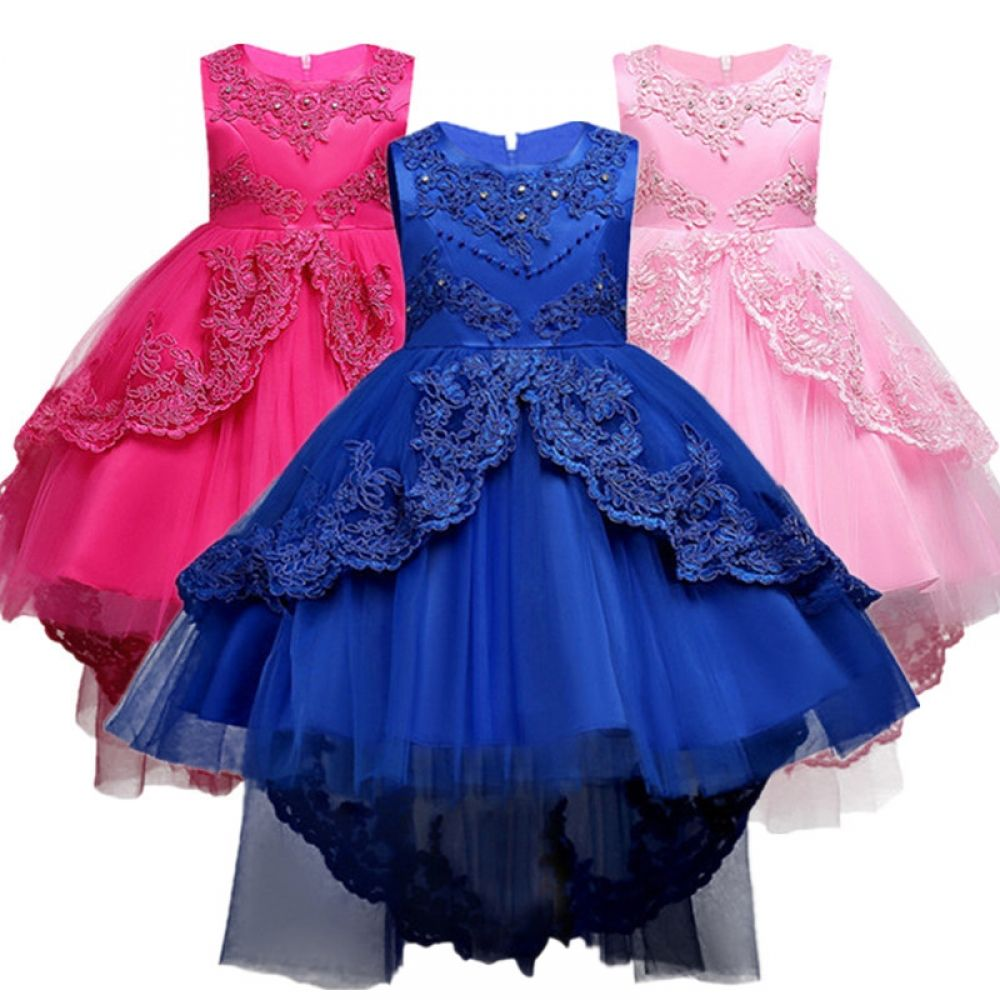dPois Girls Flower Dress Long Sleeves Sequined Princess Pageant Birthday Wedding Bridesmaid Party Dance Dresses Gown