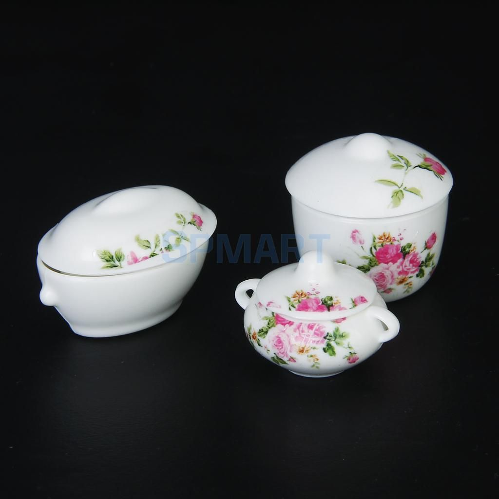10pcs 1//3 BJD Dolls House Miniature Plastic Bowl Set Kitchen Accessory White