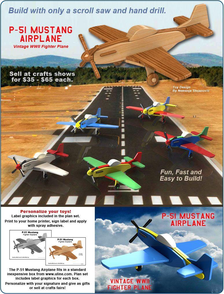 scroll saw magic p-51 mustang airplane wood toy plan set