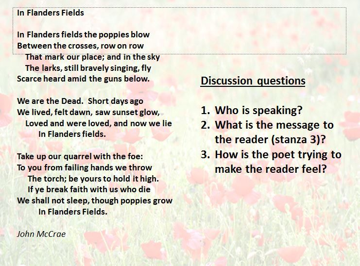 Remember the First World War through poetry; In Flanders Fields ...