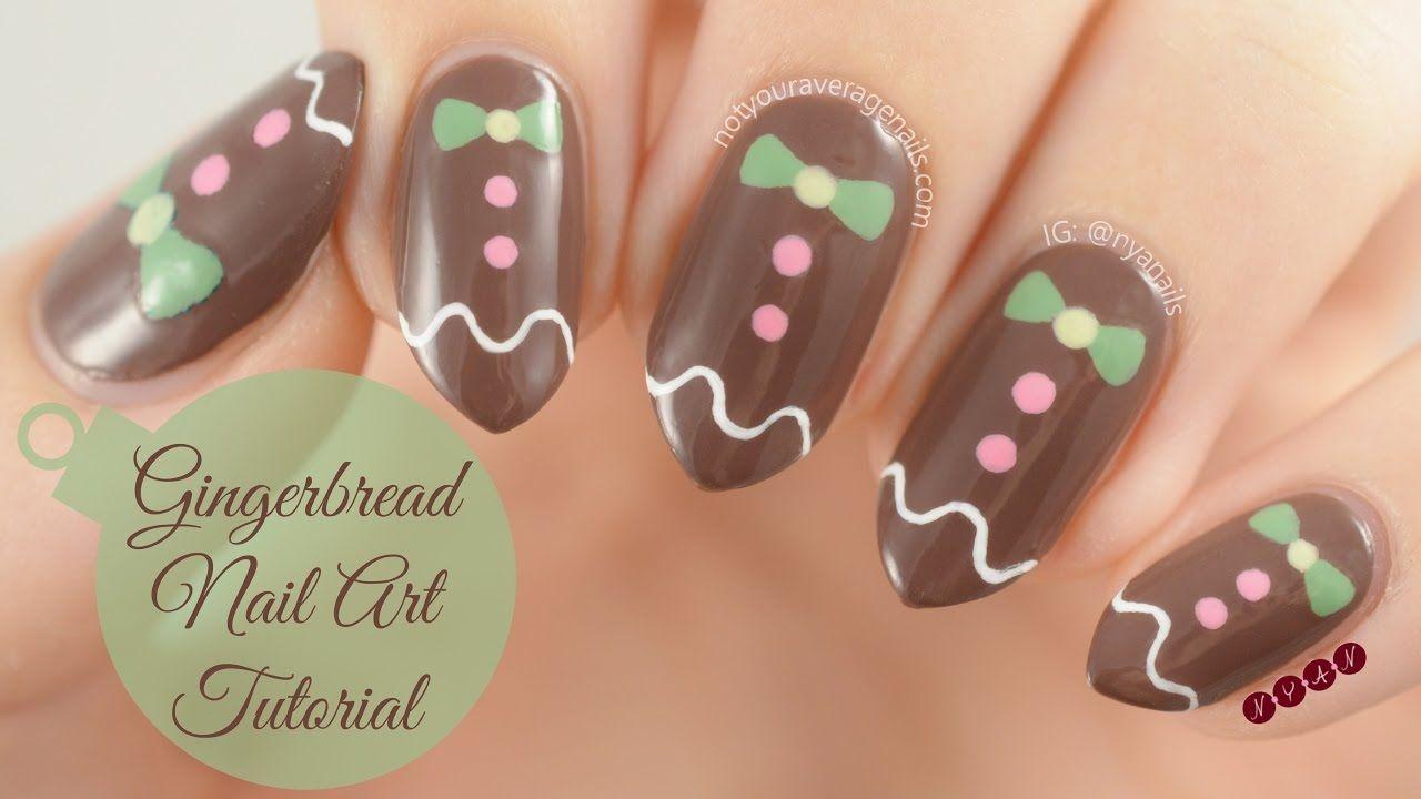 Gingerbread Man Nail Art Tutorial Nails Pinterest Gingerbread