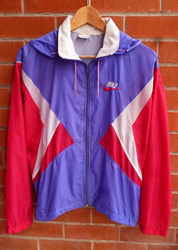 Vintage NIKE Red blue white Multicolor Windbreaker Lightweight trainer  track Nylon Casuals Hoodie Parka Windbreaker Bomber Jacket c424f62d3