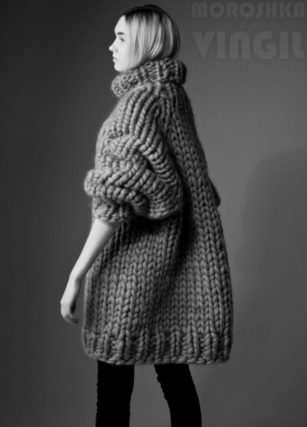 Chunky knit sweater dress. Chunky knitting turtleneck. Her ...