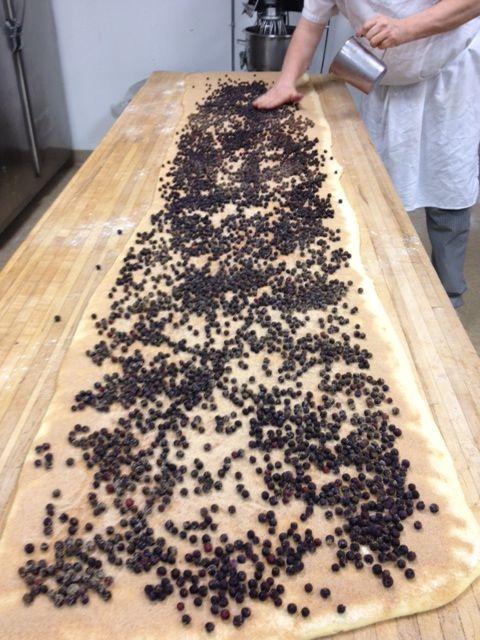 Making our Blueberry Lemon Buns! Blueberries, Cinnamon, Sweet Egg Bread, Lemon Icing.