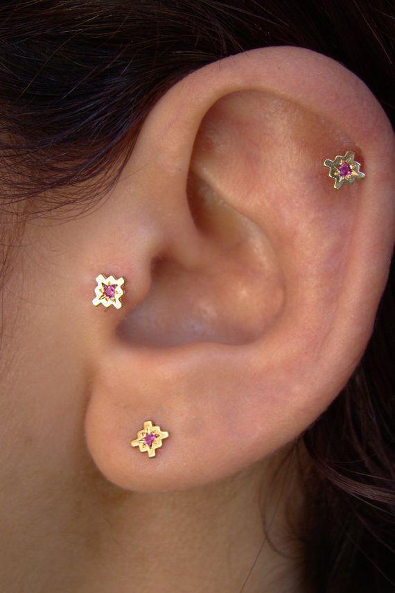 Gold Helix tragus stud Ruby earrings Gold by ShirazelohevJewelry