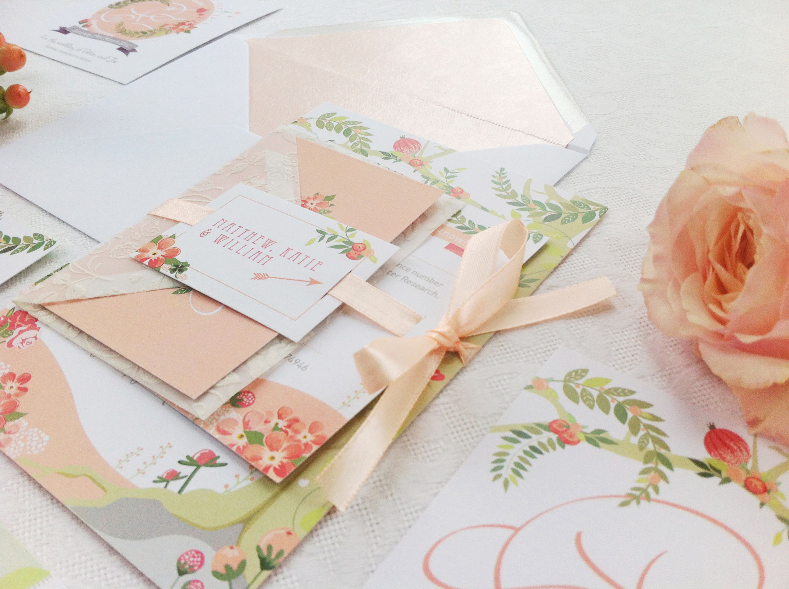 Peach and green florals, lace-y envelope and ribbon. Midsummer Dream ...