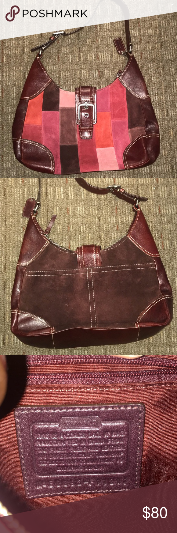 Coach Suede leather bag. Like new. Offers welcome! Suede leather burgundy  patch work bag. No stains. Like new. Coach Bags Hobos 57328c2b81