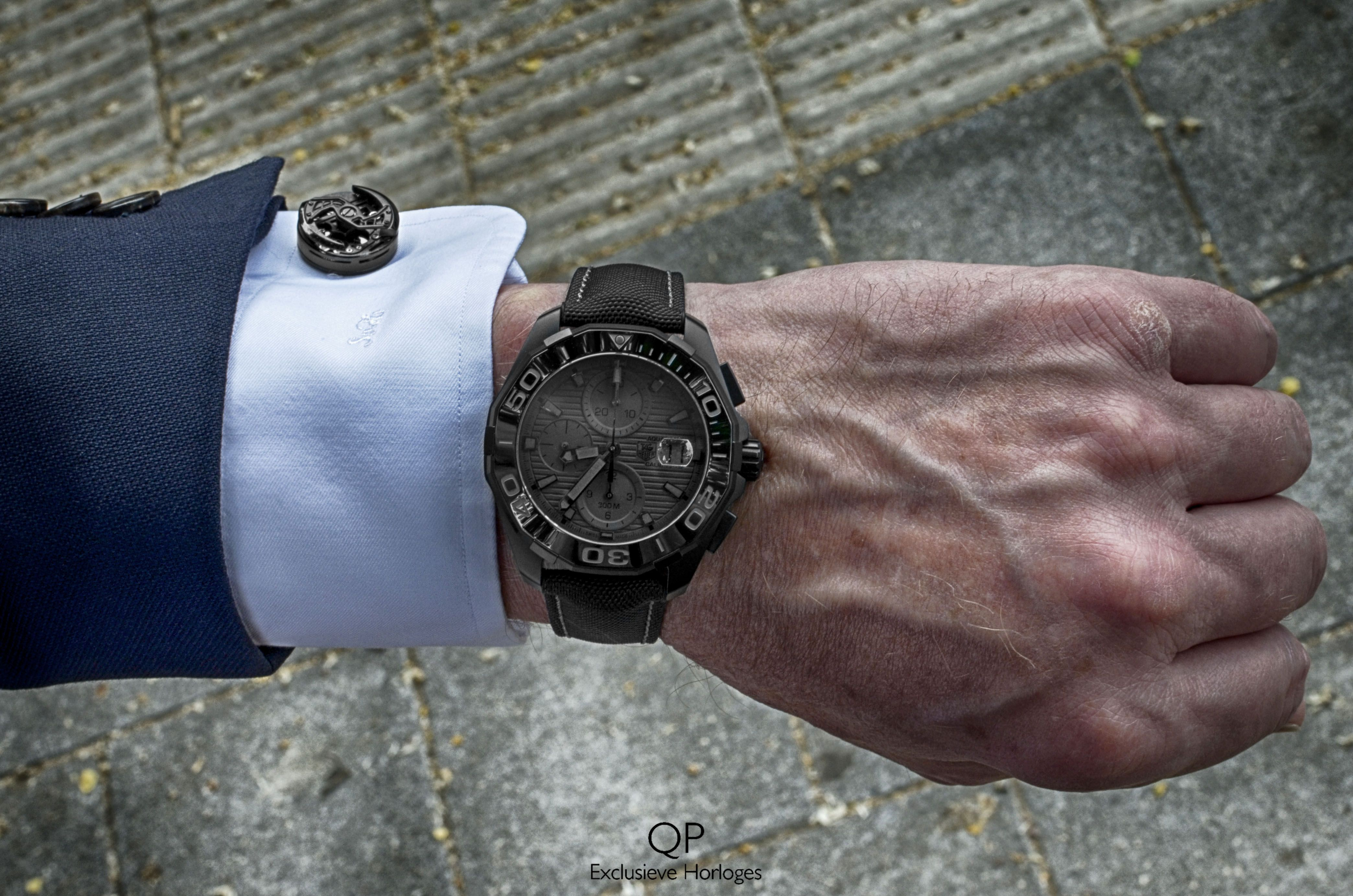 7da4aa366 Pairing the cufflinks by Encelade-1789 with the blacked out TAG Heuer  Aquaracer Calibre 16 Black Phantom