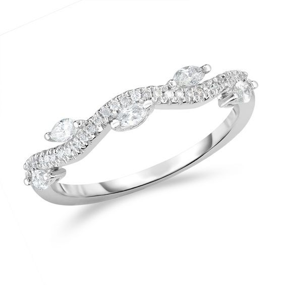 1 3 Ct T W Marquise And Round Diamond Wave Vine Stackable Band In 14k White Gold White Gold Round Diamonds Stackable Bands