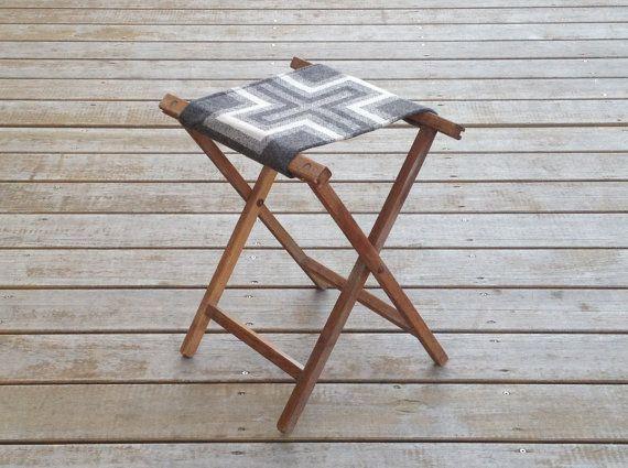 Reserved Vintage Oak Camp Stool Pendleton Wool Seat