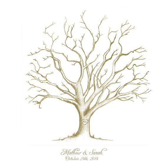 Printable fingerprint tree #Hand-Drawn #Customizable Thumbprint tree