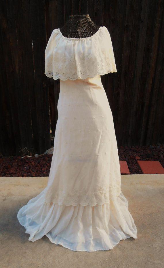 SALE Bohemian Wedding Dress 1970s Boho Hippie 1970s Floral Ethnic ...