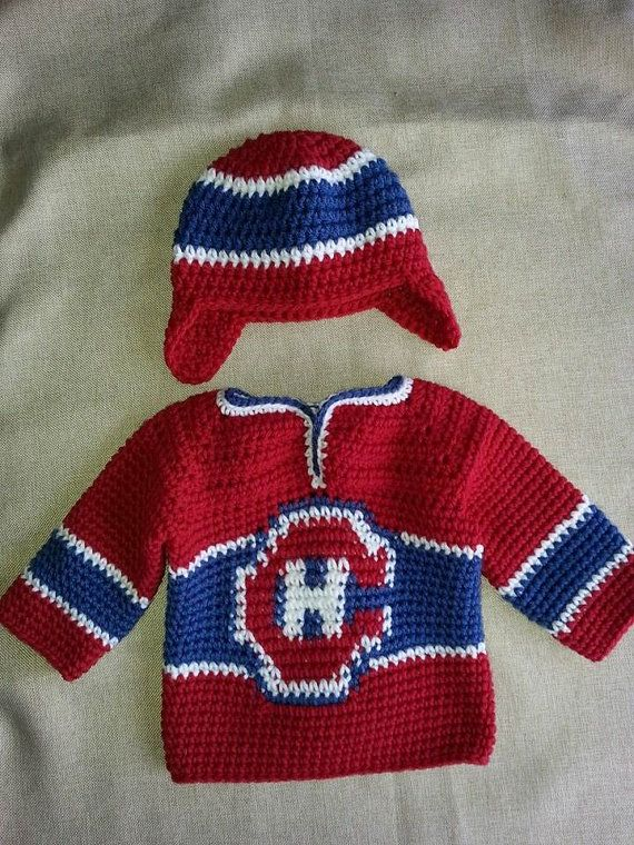 Montreal Canadiens Baby Hockey Sweater and Hat... If I promise to make this  maybe my man will help make a baby to put it on  ) 530c9c162