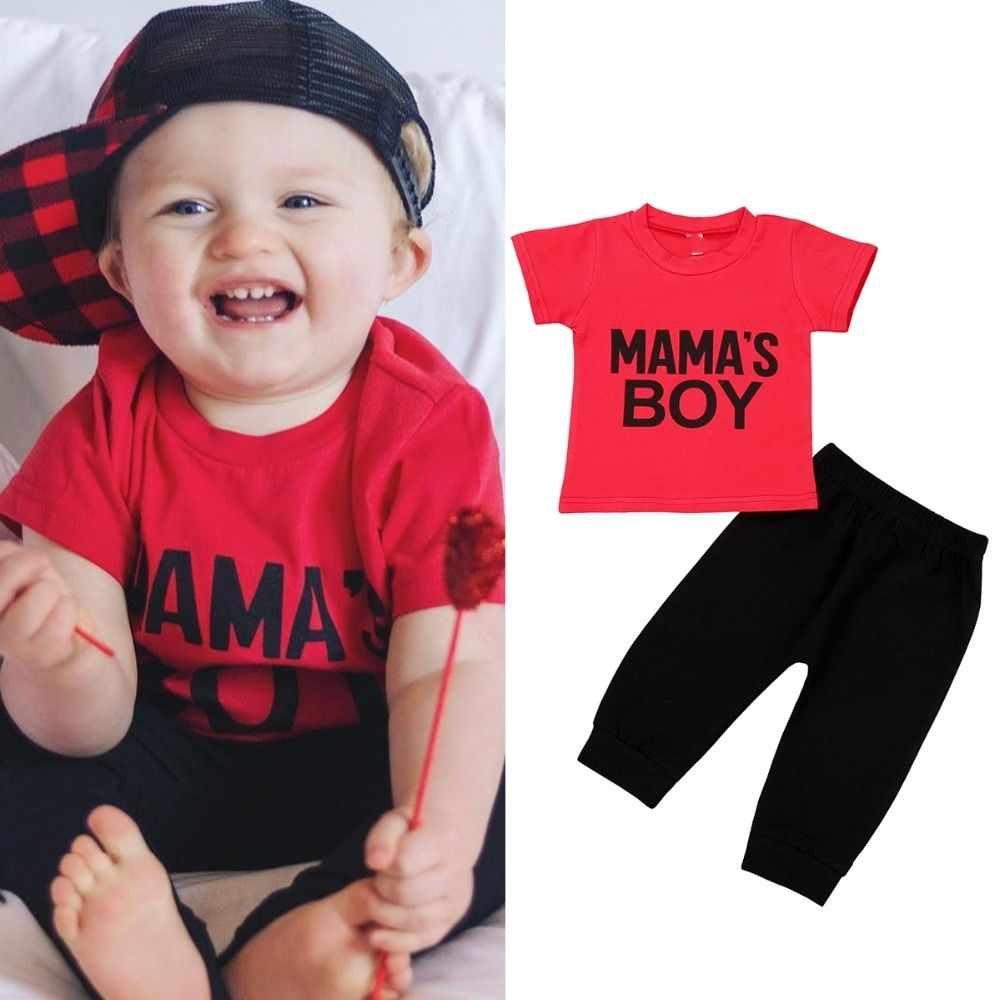 8efc97b77 Puseky Summer Newborn Baby Boys Letter Printed Clothes Short Sleeve T-Shirt  Tops Black Pants Toddler Kids Clothes Set