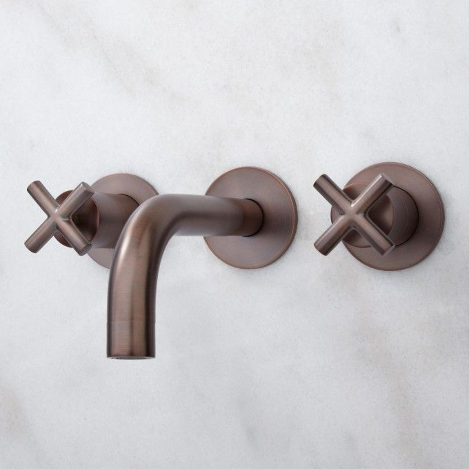 Exira Wall-Mount Bathroom Faucet - Cross Handles | Wall mount faucet ...