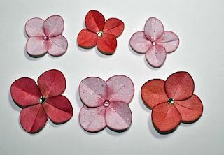 Easy handmade hydrangeas starting with circle punches flower i have an easy flower tutorial to share today i love the look of hydrangeas and many manufacturers of craft products market paper hydrange mightylinksfo