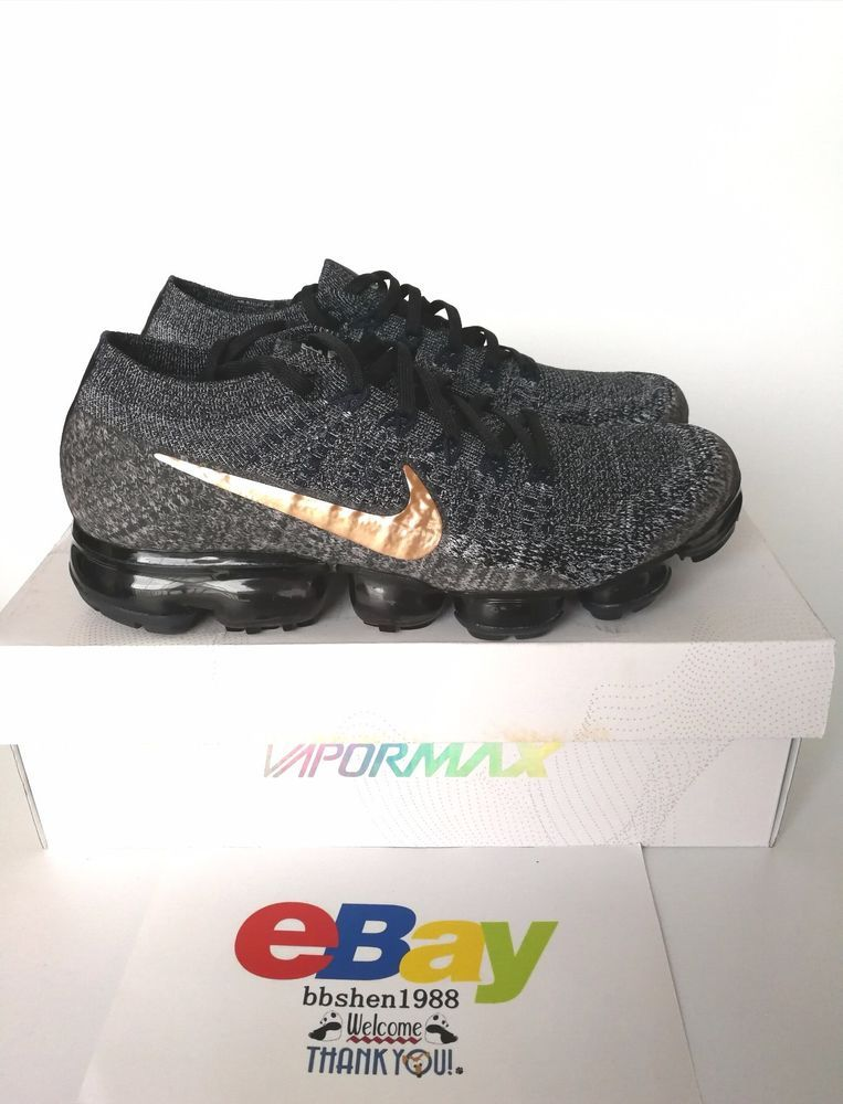 ad21e3cb018 Nike Air Vapormax Flyknit Explorer 849558-010 Dark Black Metallic Red  Bronze  Nike  AthleticSneakers