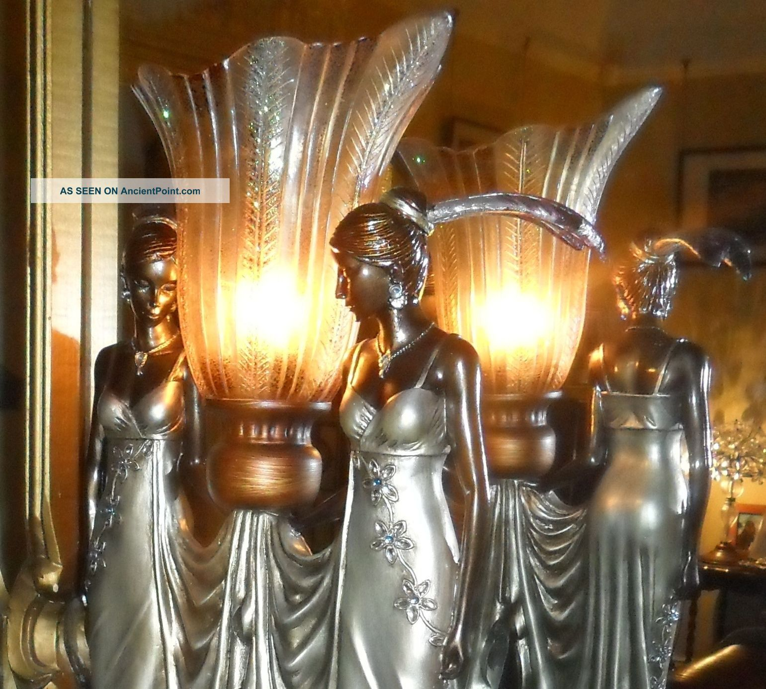 Art Deco Vintage Chrome Peacock Jewel Flapper Antique Nora 2 Lady Lamp Light Art Deco photo