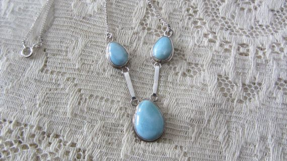 Lovely Larimar Necklace Sterling Silver Setting 925 Puerto Rico by vintagecornucopia, $100.00