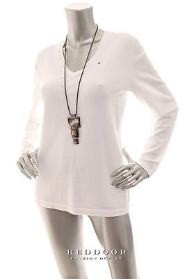 NEW TOMMY HILFIGER Women Long Sleeve V-Neck Cotton Knitted Top Off White Size XL