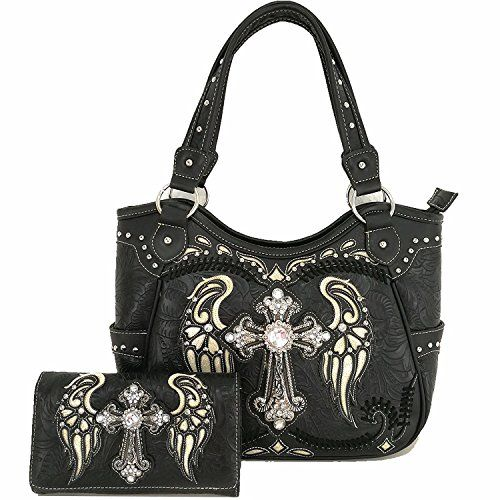 Cow Western Women Concealed Carry Cross Wings Country Purse Handbag Shoulder Bag Wallet Set Black