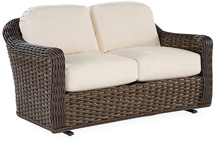 South Hampton Glider Loveseat Natural Sunbrella Lane Venture In