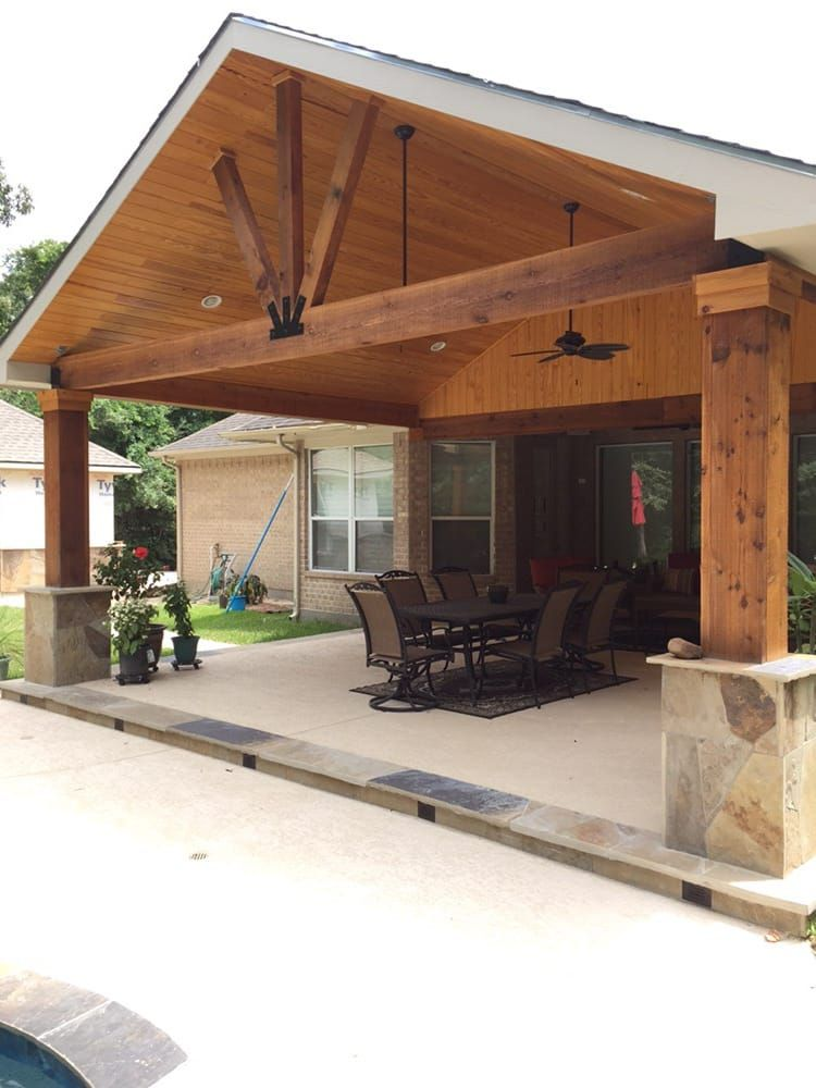 gable roof patio cover attached to existing house with cedar beams and posts flags or column base and wood stained ceiling - How To Attach A Patio Roof To An Existing House