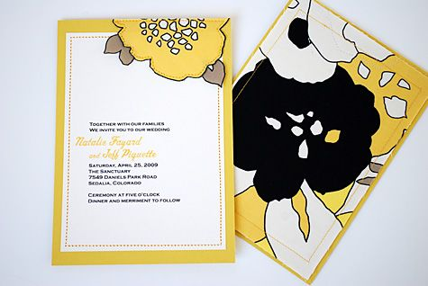 Sewn half flower + loose leaf fabric wedding invitations with - create invitation card free download