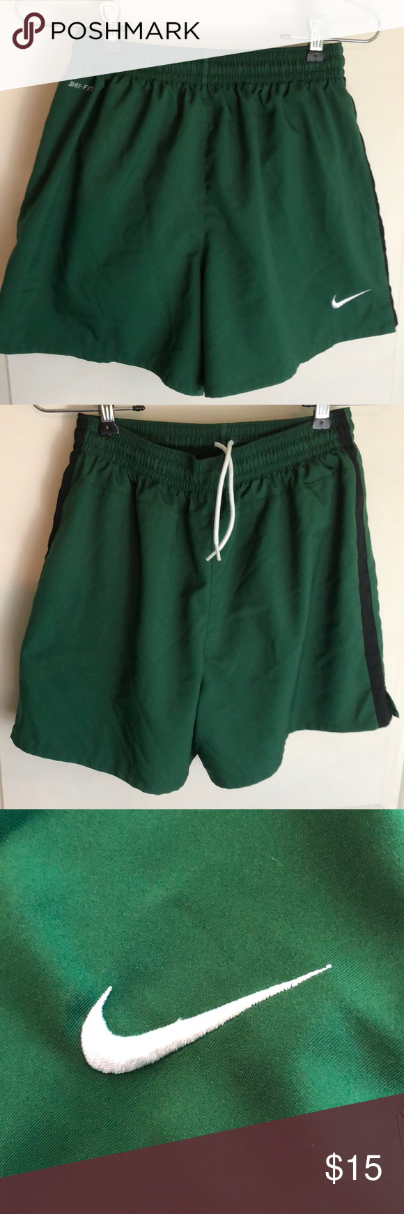b886458743404 Nike Youth Dri Fit swim trunks green large E6-12 Size large Elastic waist  Tie up strings Lined Excellent condition Nike Swim Swim Trunks