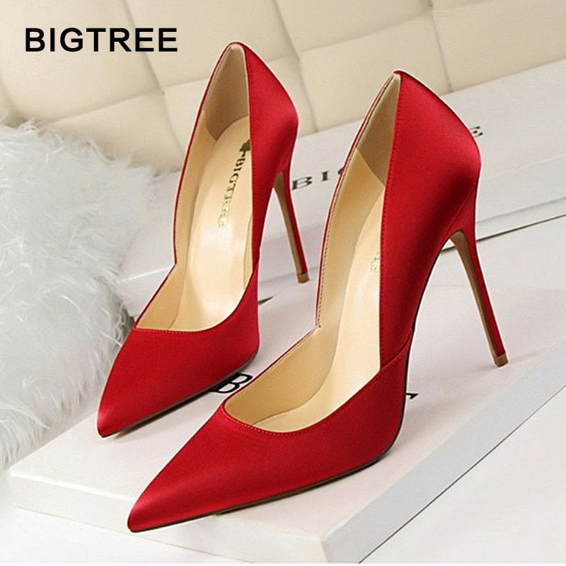 93721d2f0c2 Women High Heels Shoes Solid Silk Women Pumps Pointed Toe Women Party Shoes  Stiletto Ladies Shoes Work