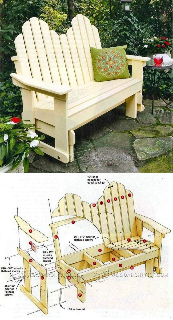 Outdoor furniture plans - Adirondack Glider Bench Plans Outdoor Furniture Plans And Projects Woodarchivist Com