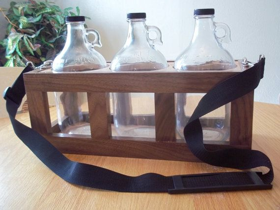Growler Carrier Walnut Maple Storage Hardwood Growler Jug Holder
