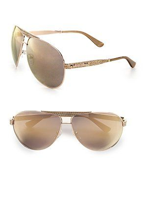 Jimmy Choo Snakeskin Embossed Metal Aviator Sunglasses