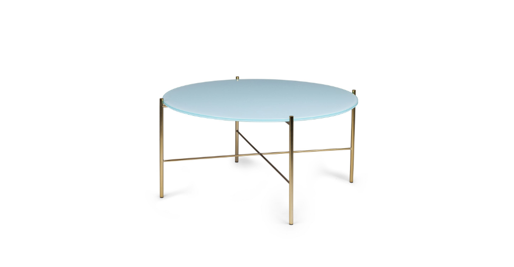 Silicus Blue Round Coffee Table Coffee Tables Modern Mid