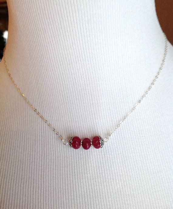 Genuine Natural Ruby Necklace  Sterling SIlver by WaringTreasures, $29.00