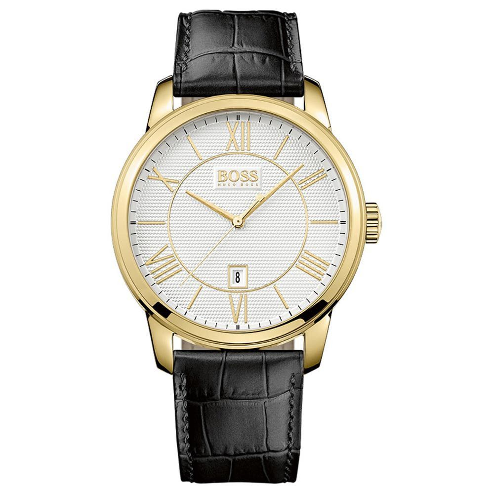 138ad2a8bef1e Hugo Boss 1512972 Men s Silver Dial Gold Plated Steel Black Leather Strap  Watch