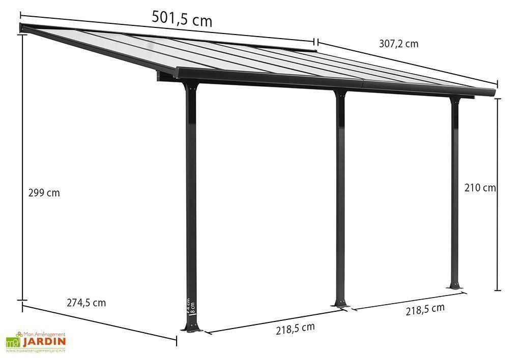 Pergola En Aluminium Gris Et Polycarbonate 307x501x299cm 2020