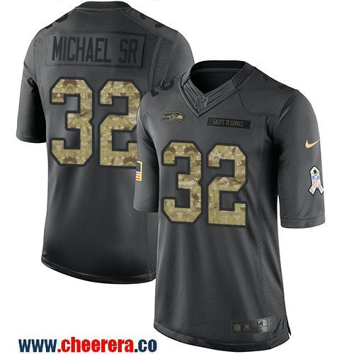 Men's Seattle Seahawks #32 Christine Michael Sr Black Anthracite 2016 Salute To Service Stitched NFL Nike Limited Jersey
